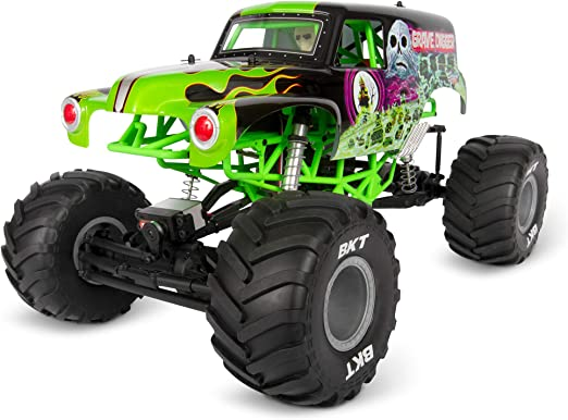 Amazon Com Axial Smt10 Grave Digger Rc Monster Truck Rtr With 2 4ghz Radio Transmitter System Battery And Charger Not Included 1 10 Scale Axi03019 Black Green Toys Games