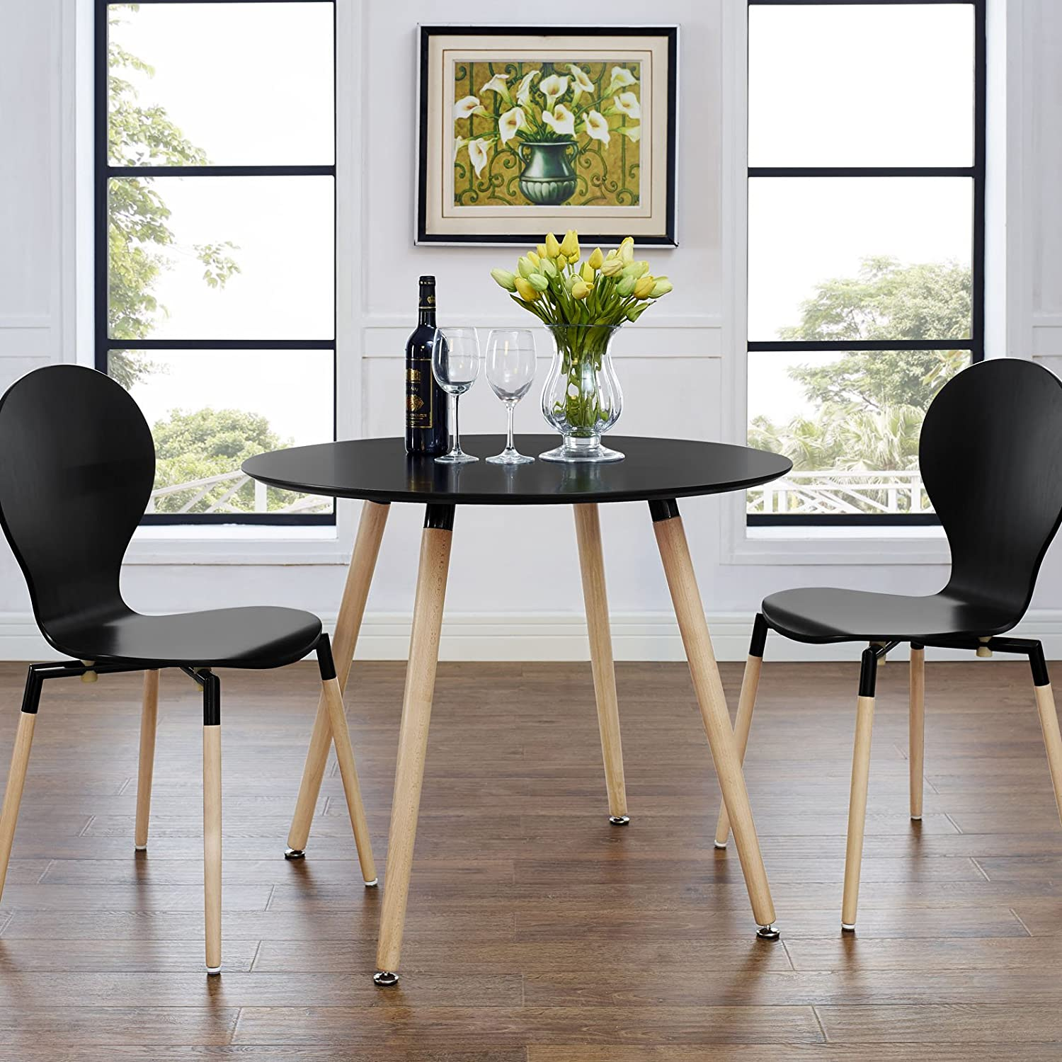 Amazoncom Modway Track Circular Dining Table Black Tables