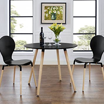 Modway Track 36 Contemporary Modern Round Kitchen And Dining Room Table In Black