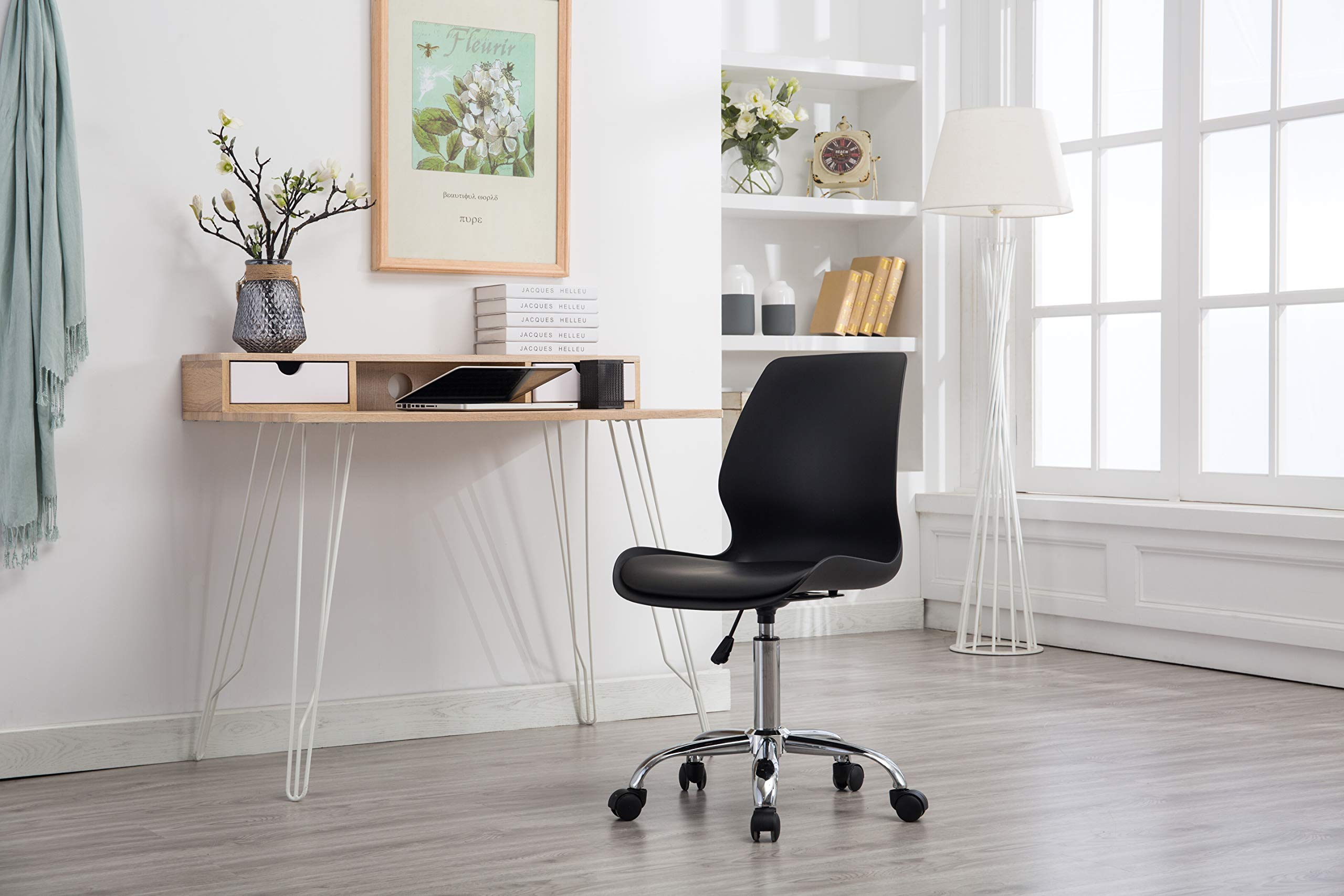 Porthos Home LVC006A BLK Adjustable Height Office Desk Chair with Wheels, Easy Assembly, White or Black, One Size