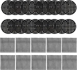 120 Pieces Flower Pot Hole Mesh Pad - Joycoco 100pcs 4.5CM Round Bonsai Pot Bottom Grid Mat Mesh and 20pcs 2 x 2 Inch Rigid Polyethylene Garden's Drainage Mesh Hole Screens