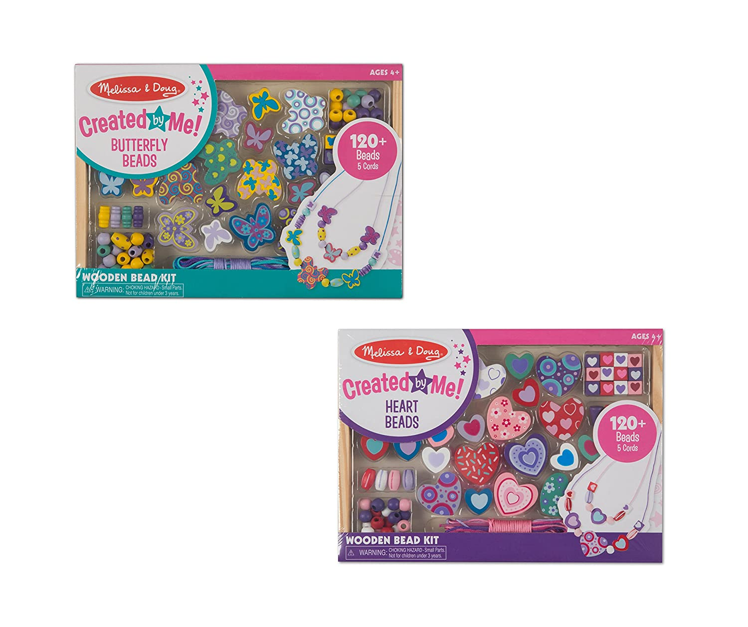 Melissa & Doug Wooden Bead Kits, Set of 2, Sweet Hearts and Butterfly Friends (120 Wooden Beads & 5 Color Cords, Great Gift for Girls and Boys - Best for 4, 5, 6, and 7 Year Olds)