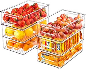 Refrigerator Organizer Bins, 6 Pack Clear Plastic Food Storage Bins for Freezer, Cabinet, Countertops, Cupboard, Kitchen Pantry Organization, BPA Free, 10