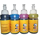 GoColor Premium HP Compatible Inkjet Refill Ink 70 Ml X 4 Color K/C/M/Y with Syringe and Needles for Refilling Cartridge & Ciss for Accurate Printing.
