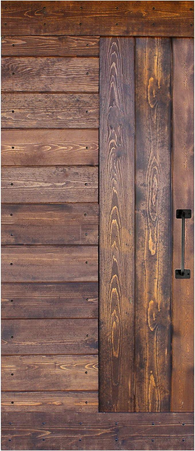 Amazon Com 36in X 84in S Series Diy Knotty Pine Wood Interior Sliding Barn Door Slab With Handle Walnut Home Improvement