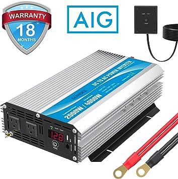 RV Car//Home Power inverter 1000W//3000W//4000W Peak 12V DC to 110V 120V AC Truck