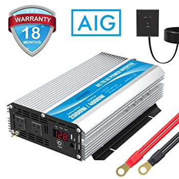 GIANDEL 2000W Power Inverter 12V DC to 110V 120V AC