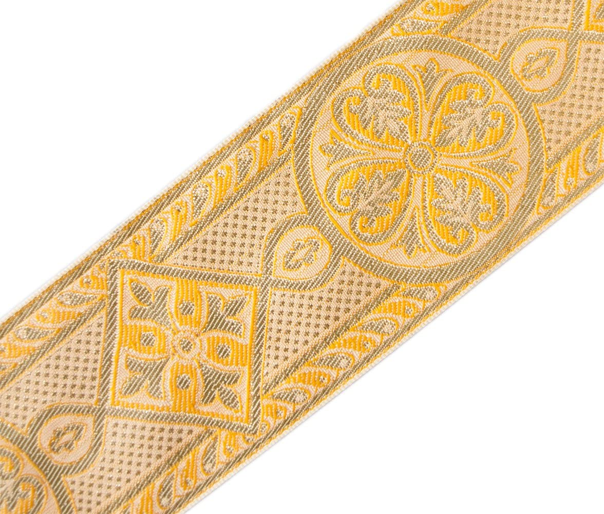 """Historic 3¾/"""" Wide Cross with Leaves Gold on Green Church Vestment Jacquard Trim"""