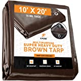10' x 20' Super Heavy Duty 16 Mil Brown Poly Tarp Cover - Thick Waterproof, UV Resistant, Rot, Rip and Tear Proof Tarpaulin with Grommets and Reinforced Edges - by Xpose Safety