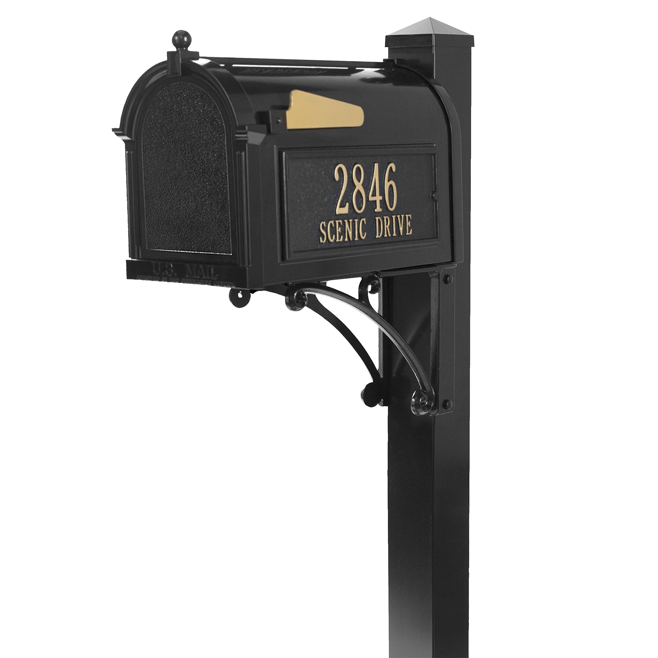 Whitehall Products 16308 Superior Mailbox Package, Black