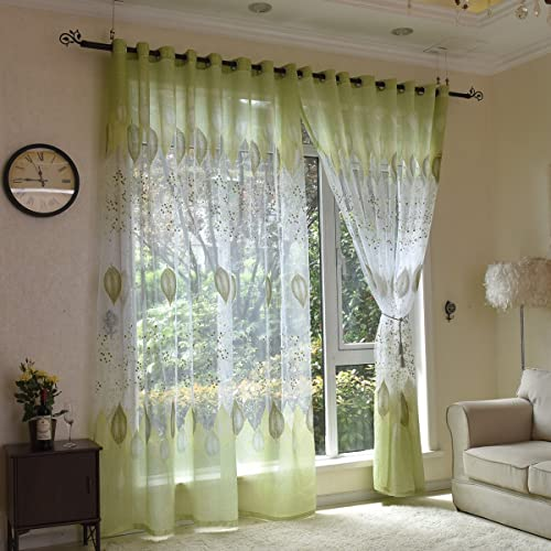 AUSWIND Green Leaf Grommet Top Sheer Curtain Fabric Blinds Drapes one Panel