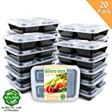 Enther Meal Prep Containers [20 Pack] 3 Compartment with Lids, Food Storage Bento Box | BPA Free | Stackable | Reusable Lunch Boxes, Microwave/Dishwasher/Freezer Safe,Portion Control (36 oz)