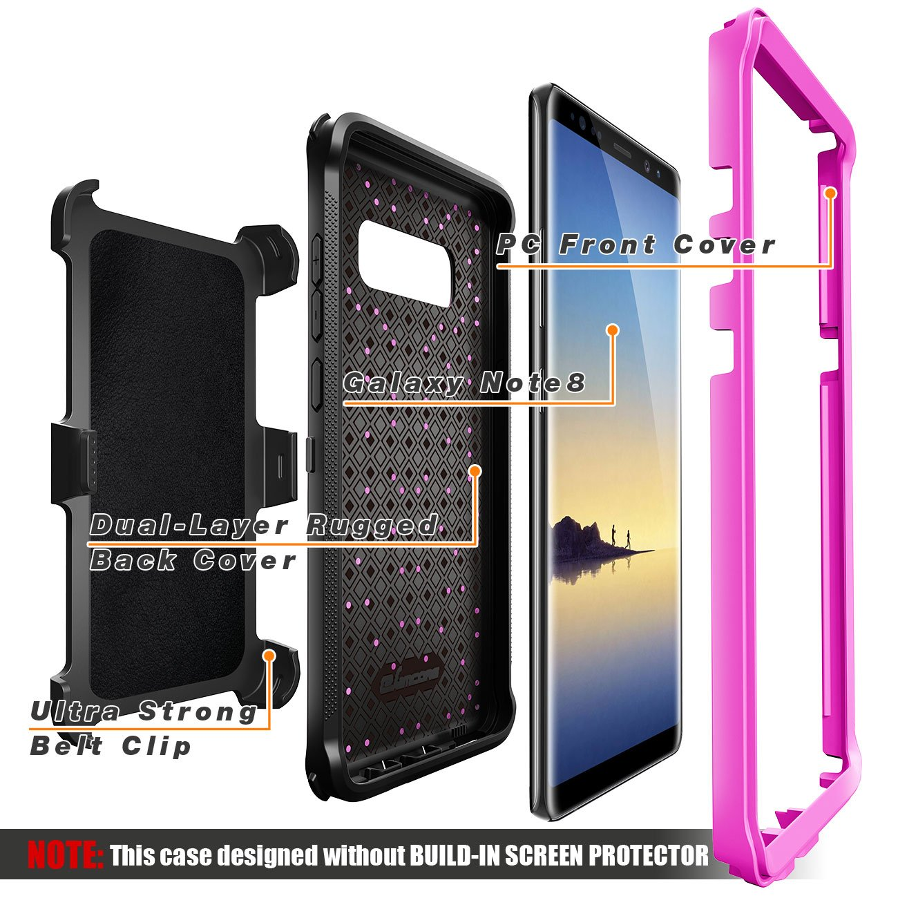 Galaxy Note 8 case, eSamcore Full Body Protection Shockproof Case Cover with Rugged Heavy Duty Holster Clip Kickstand [WITHOUT Built-in Screen Protector] for Samsung Note 8 2017 [Purple]