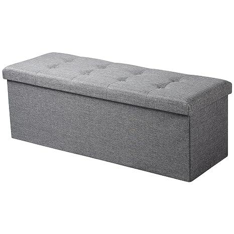 WOLTU® Sitzhocker mit Stauraum Sitzbank faltbar Truhen Aufbewahrungsbox,  Deckel abnehmbar, Gepolsterte Sitzfläche aus Leinen, 110x37,5x38 cm, ...