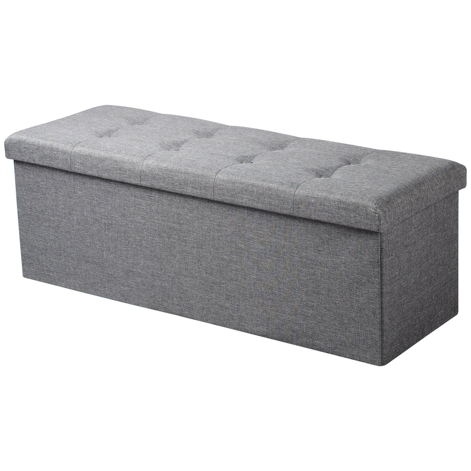 Grey Large Linen Folding Storage Ottoman Pouffe Seat Foot Stool Storage Box UK