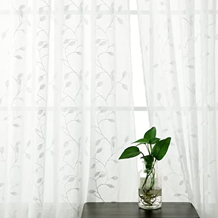 Doconovo Rideau Voilage Aspect Lin A Oeillets Broderie Feuille Decoration Chambre Enfant Fille 140x240cm Blanc