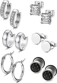 Milacolato 6 Pairs Stainless Steel Stud Earrings for Women Mens Huggie Hoop CZ Earrings Set