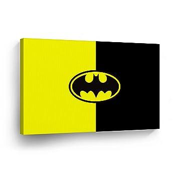 BATMAN WALL ART CANVAS PRINT Black And Yellow Classic Batman Logo Super  Hero Home Decor Decorative