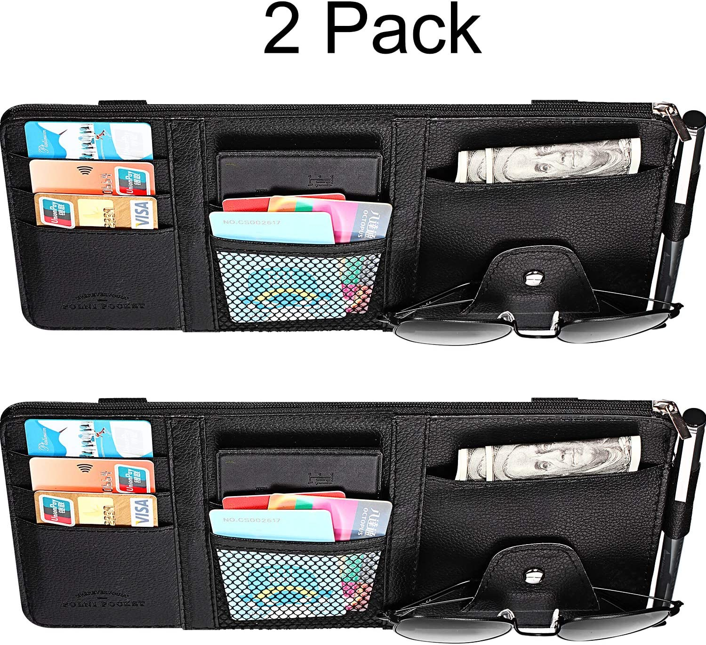 Boao 2 Packs Car Visor Organizer with Adjustable Straps Auto Interior Accessories Pocket Organizer Car Sun Visor Pen CD Card Document Holder Storage Pouch