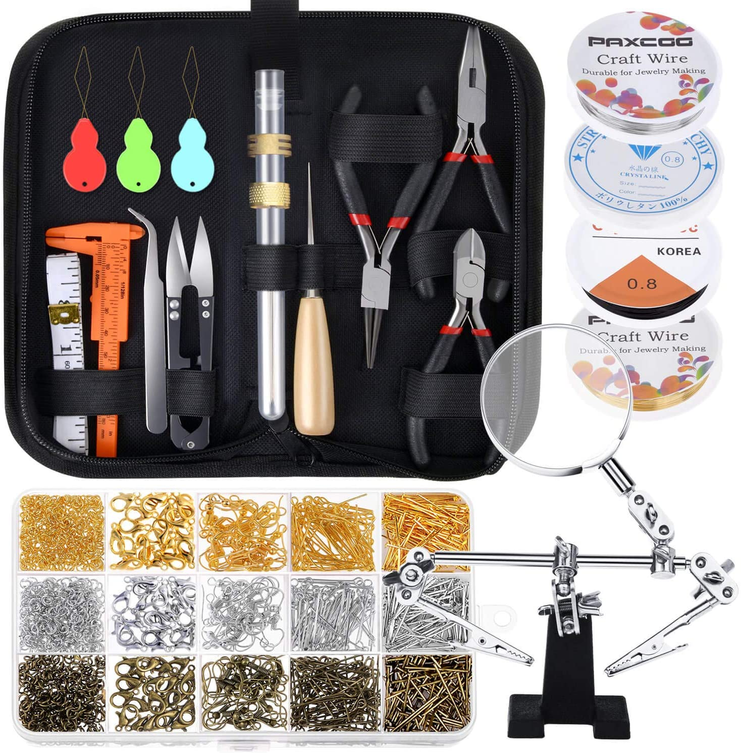 Paxcoo Necklace Making kit with Jewelry Wire Jewelry Tools and Findings Crimp Beads Jewelry Making Kit Bracelet Clasps and Closures for Beading Jewelry Making Supplies and Repair