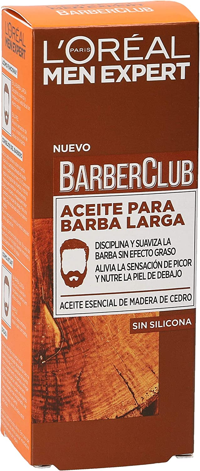 L'Oréal Paris Men Expert Barber Club - Aceite Hidratante para Barba Larga y Rostro, 30 ml