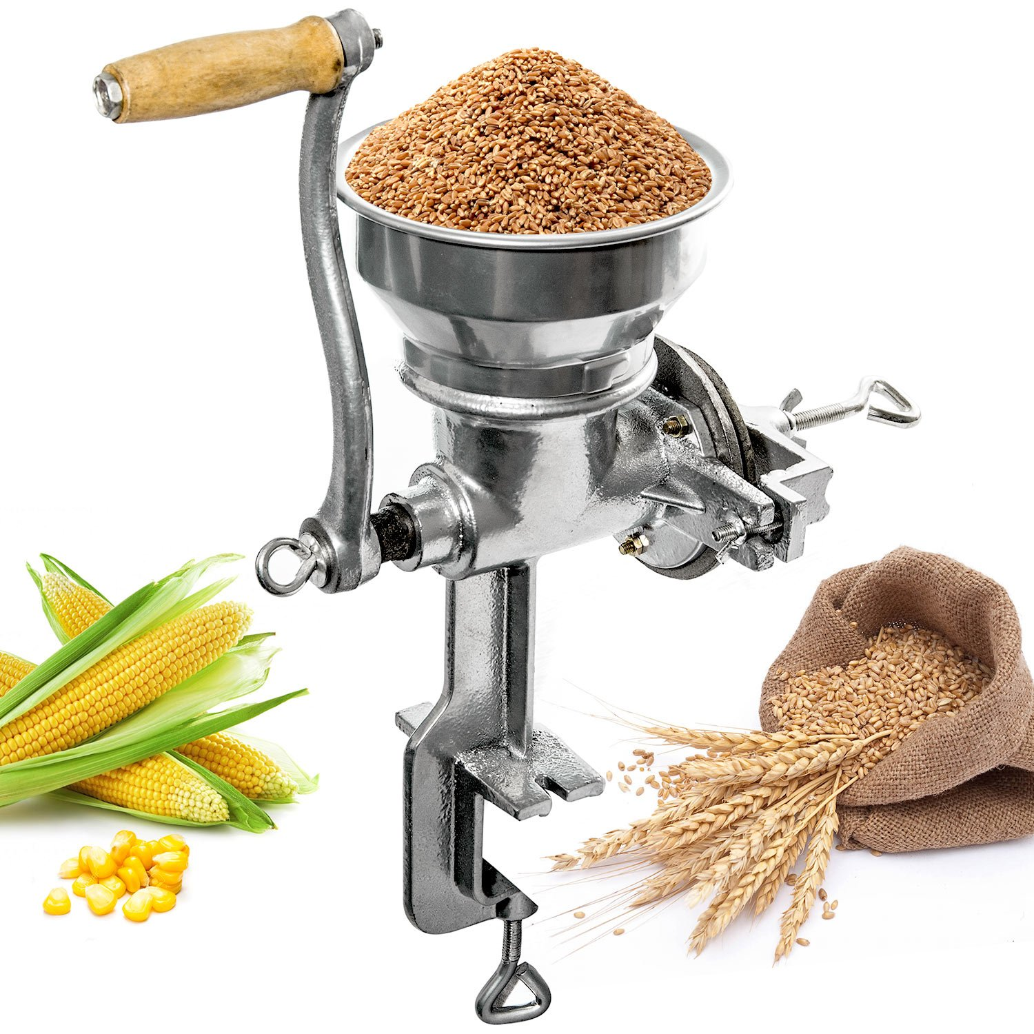 Professional Manual Grain Grinder - Table Clamp Corn Mill with Hopper, Cast Iron by Biltek