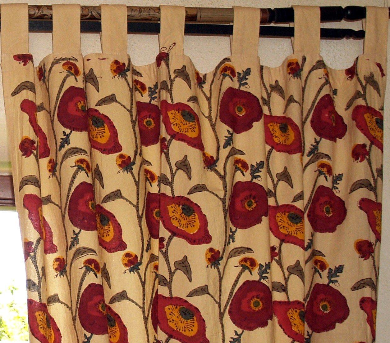 Guru-Shop Vorhang, Gardine (1 Paar Vorhänge, Gardinen) mit Schlaufen, Handbedruckt, Blumen Motiv, Baumwolle, Länge  290 cm, Dekovorhänge