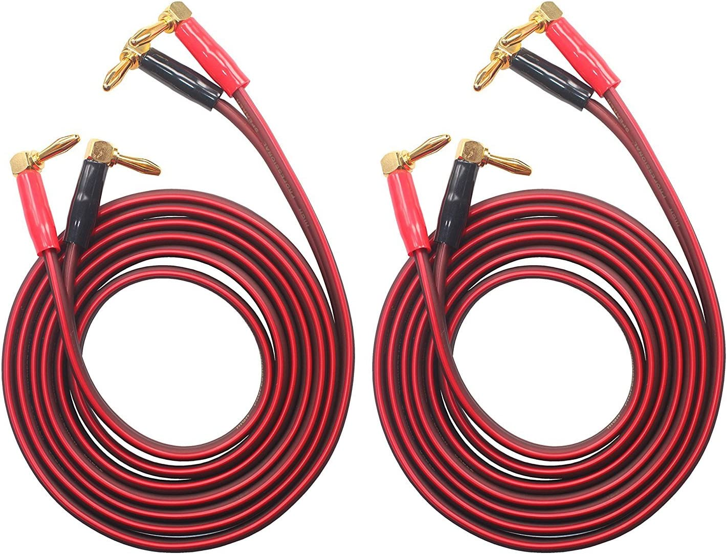 3M HiFi OFC Speaker Wire 1pair Set 8 Banana Plug KK Cable BTK-4 Right Angle Banana Plug to Right Angle Banana Plug BTK-4 9.8ft