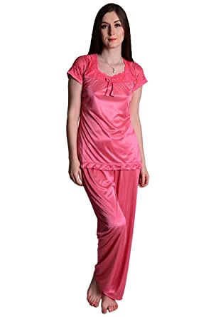 48222d3543 Senslife Women s Soft and Smooth Satin Solid Nightwear Short Sleeve Night  Suit Top and Pajama Set