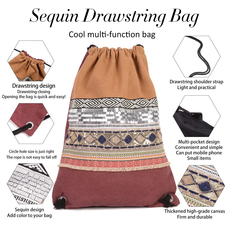 Drawstring Bag Gym Bag for Women Sequin Backpack Canvas Travel Bag Blue White
