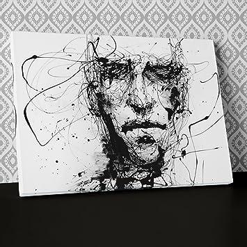 Abstrait Visage De Premiers Pen Noir Et Blanc Sur Toile Art
