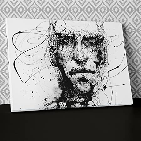 Abstract Face Rough Pen Black White Canvas Wall Art Framed Ready To Hang Picture Print Ab193