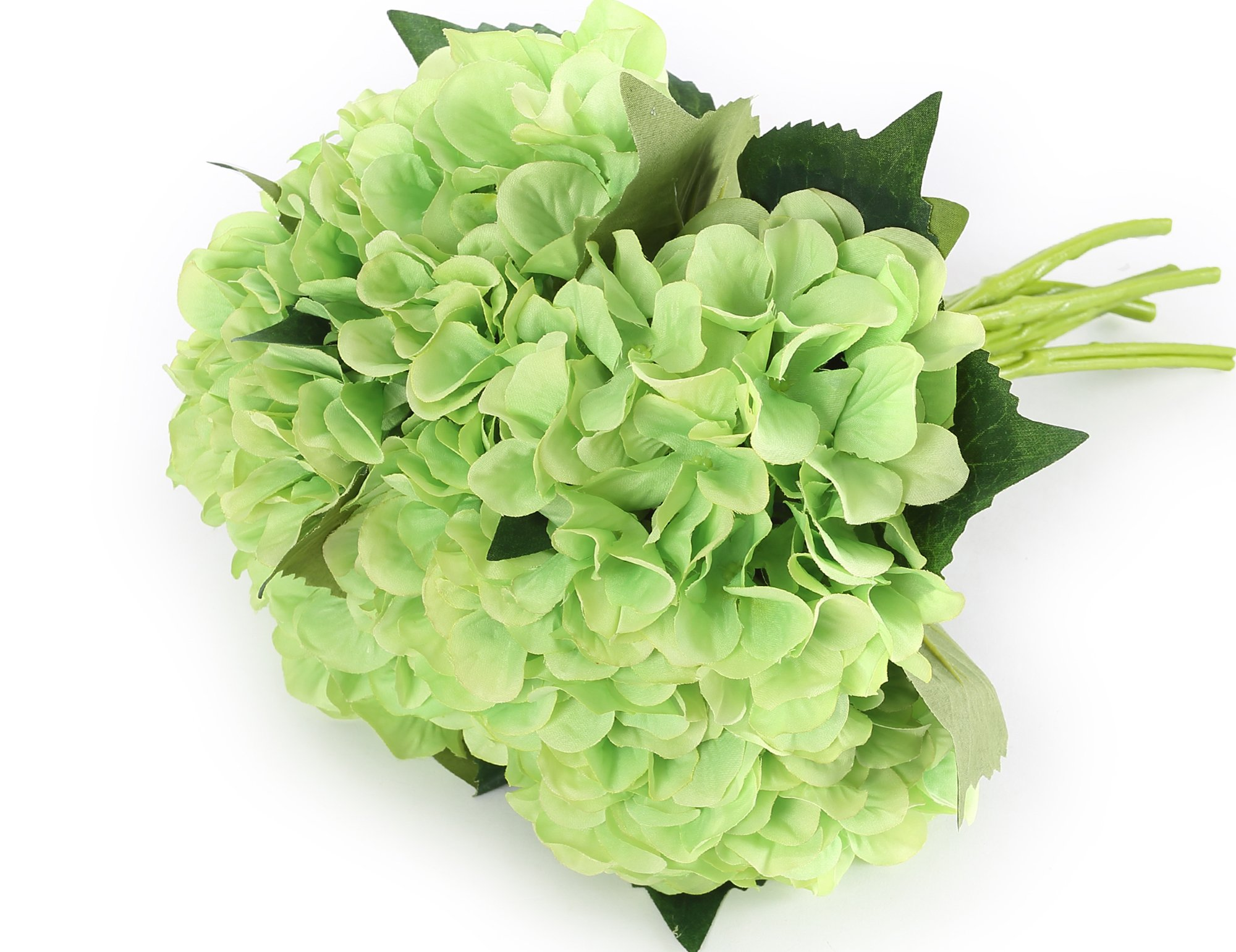 Greentime 6 Bunchs 8'' Artificial Flower Fake Hydrangea Bouquet Silk Flower Bouquet for Wedding, Room, Home, Hotel, Party Decoration Green