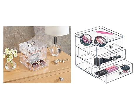 InterDesign Drawers Caja para guardar gafas | Caja organizadora apilable para gafas, gafas de lectura y gafas de sol | Caja para gafas con 3 cajones | ...