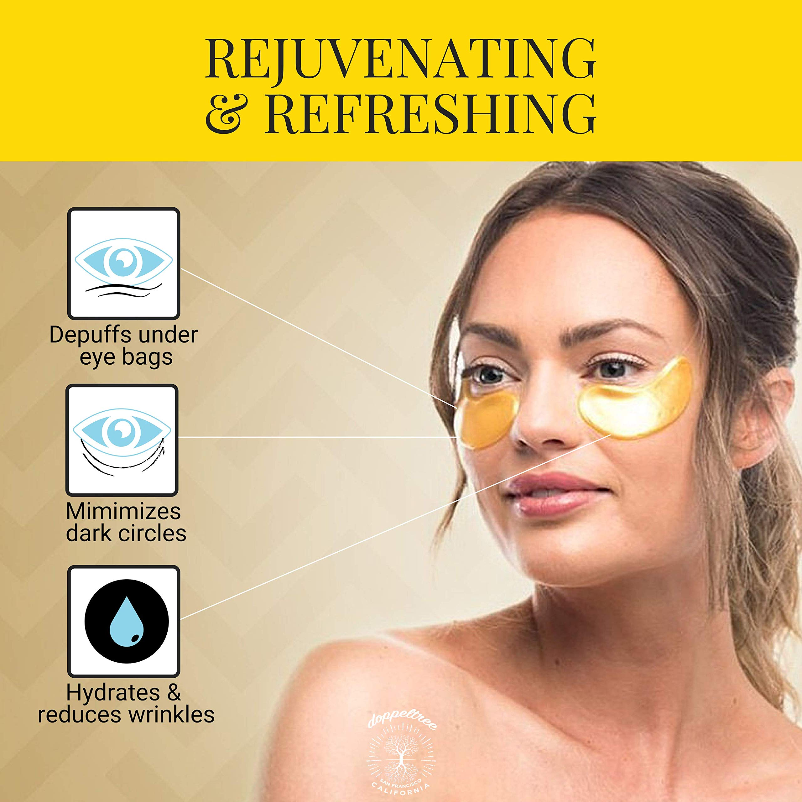 (18 Pairs) All Natural Under Eye Patches & Masks | Best Treatment for Bags & Puffiness, Wrinkles and Dark Circles | 24K Gold, Anti Aging Collagen, Hyaluronic Acid, Hydrogel | Designed in San Francisco by Doppeltree (Image #3)