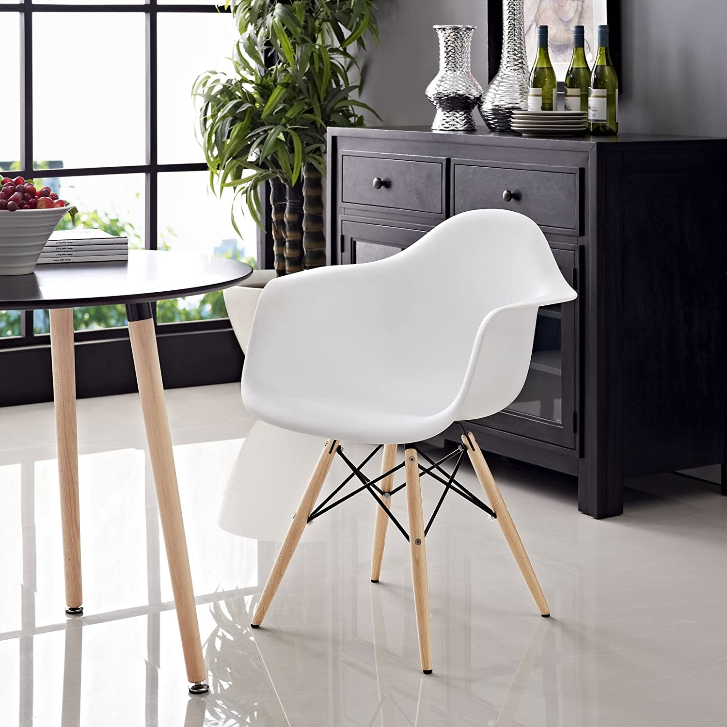 Modway Pyramid Dining Armchair with Natural Wood Legs in White Modway Inc EEI-182-WHI