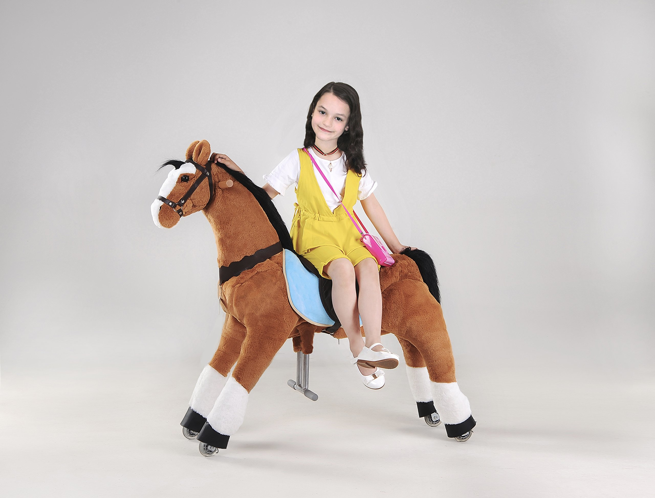 UFREE Action Pony, Large Mechanical Horse Toy, Ride on Bounce up and down and Move, Height 44'' for Children 6 Years to Adult black mane and tail