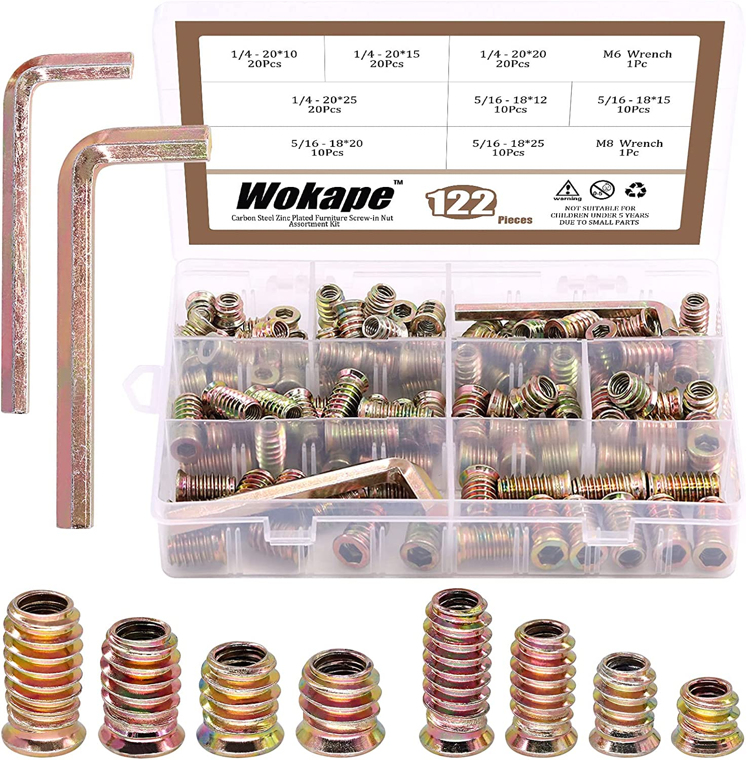Wokape 122 Pieces Carbon Steel Threaded Inserts Nuts Assortment Kit, Zinc Plated Carbon Furniture Screw in Nut Threaded Wood Inserts Bolt Fastener Connector Hex Socket