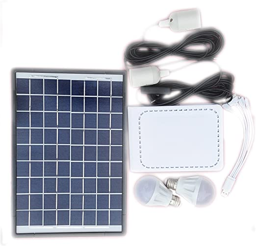 Amazon Com Solar Lighting System Kit 10w Solar Panel With 3pcs Led Bulb And The Multifunction Usb Charging Cable The Lion Battery Capacity Is 12v 4400mah Home Improvement