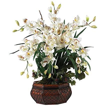 Amazon nearly natural 1199 wh large cymbidium silk flower nearly natural 1199 wh large cymbidium silk flower arrangement white mightylinksfo