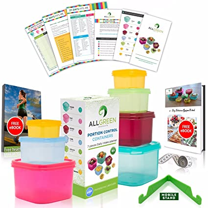 Amazon 21 day portion control containers 7 piece colored set 21 day portion control containers 7 piece colored set meal prep kit for diet fandeluxe Image collections