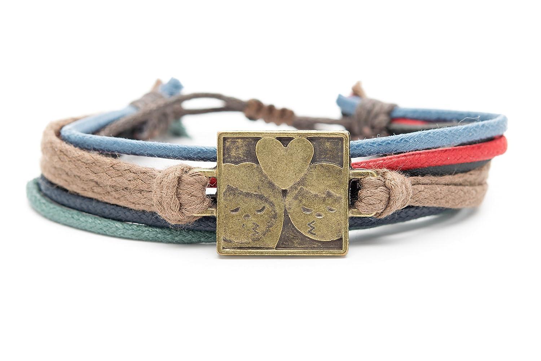 Orti Jewelry Emoji Bracelet by Original Emoji Fashion Bracelet - Handmade Leather, Metal & Rope Bangle, Stylish Design, Adjustable Unisex Jewelry, Gift Idea Adorable Romantic Gift Idea DIME100