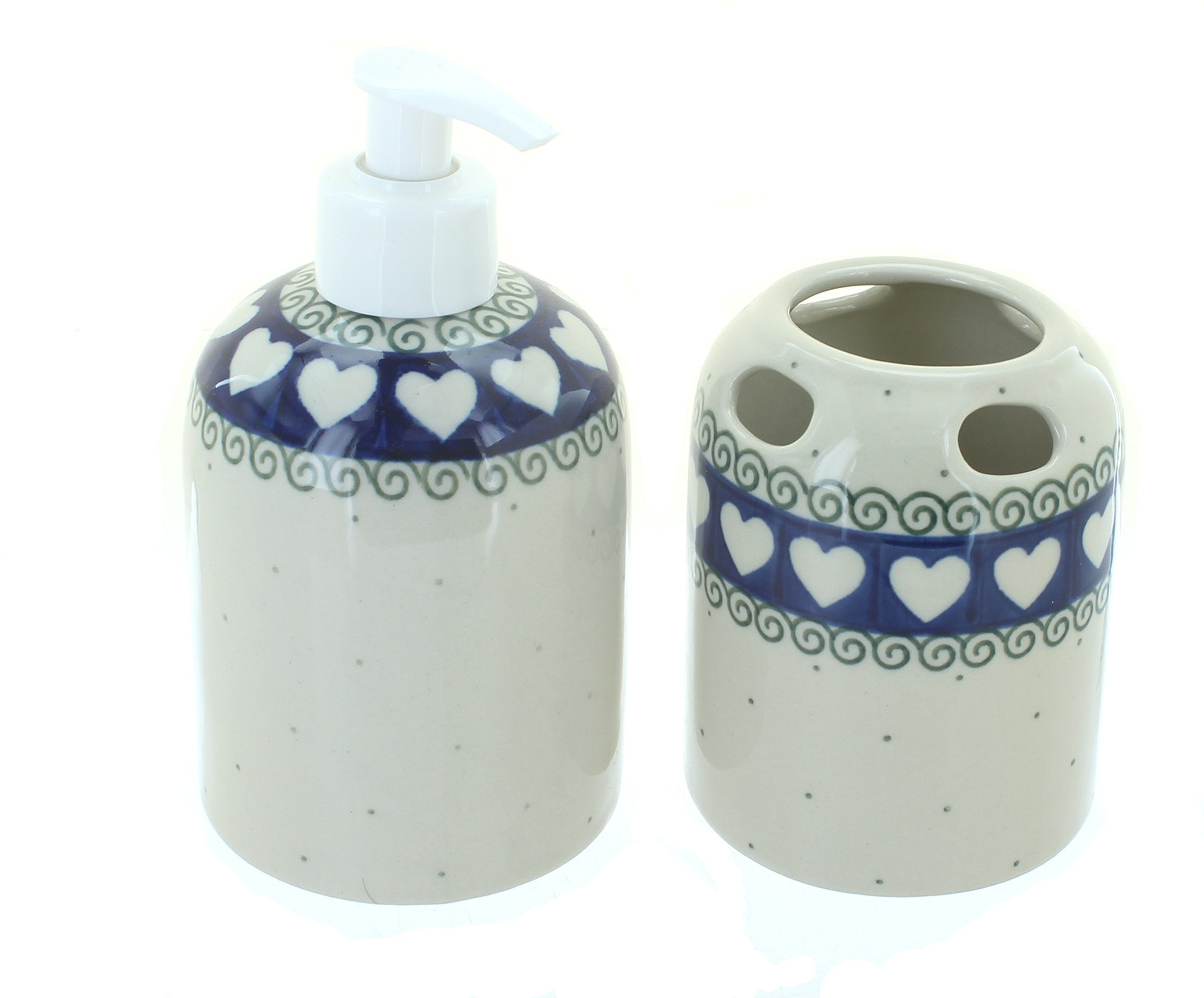 Blue Rose Polish Pottery Cupid Soap Dispenser & Toothbrush Holder - Hand made in Poland Safe to use in microwave, dishwasher, freezer, oven No lead or cadmium - bathroom-accessory-sets, bathroom-accessories, bathroom - 81XuR0yG2kL -
