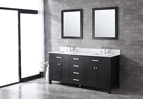 All-Wood Espresso Shaker Vanity – Complete 72-inch, White Carrara Marble Top
