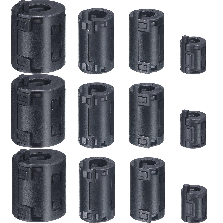 Skylety 12 Pieces 7 mm/9 mm/11 mm/13 mm Inner Diameter Ferrite Core Cord Ring Core RFI EMI Noise Suppressor Cable Clip, Black