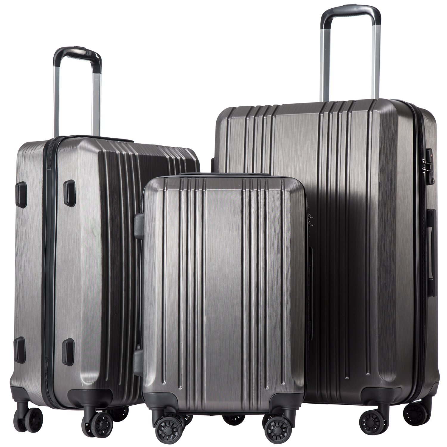 Coolife Luggage Expandable Suitcase 3 Piece Set with TSA Lock Spinner 20in24in28in (sliver gray3) by Coolife