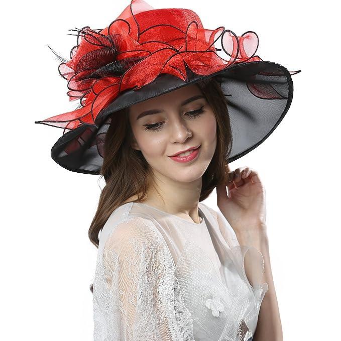 fb9235591 Women's Fascinators Wide Brim Sun Hat for Kentucky Derby, Church, Wedding,  Tea Party, Royal Ascot, Easter