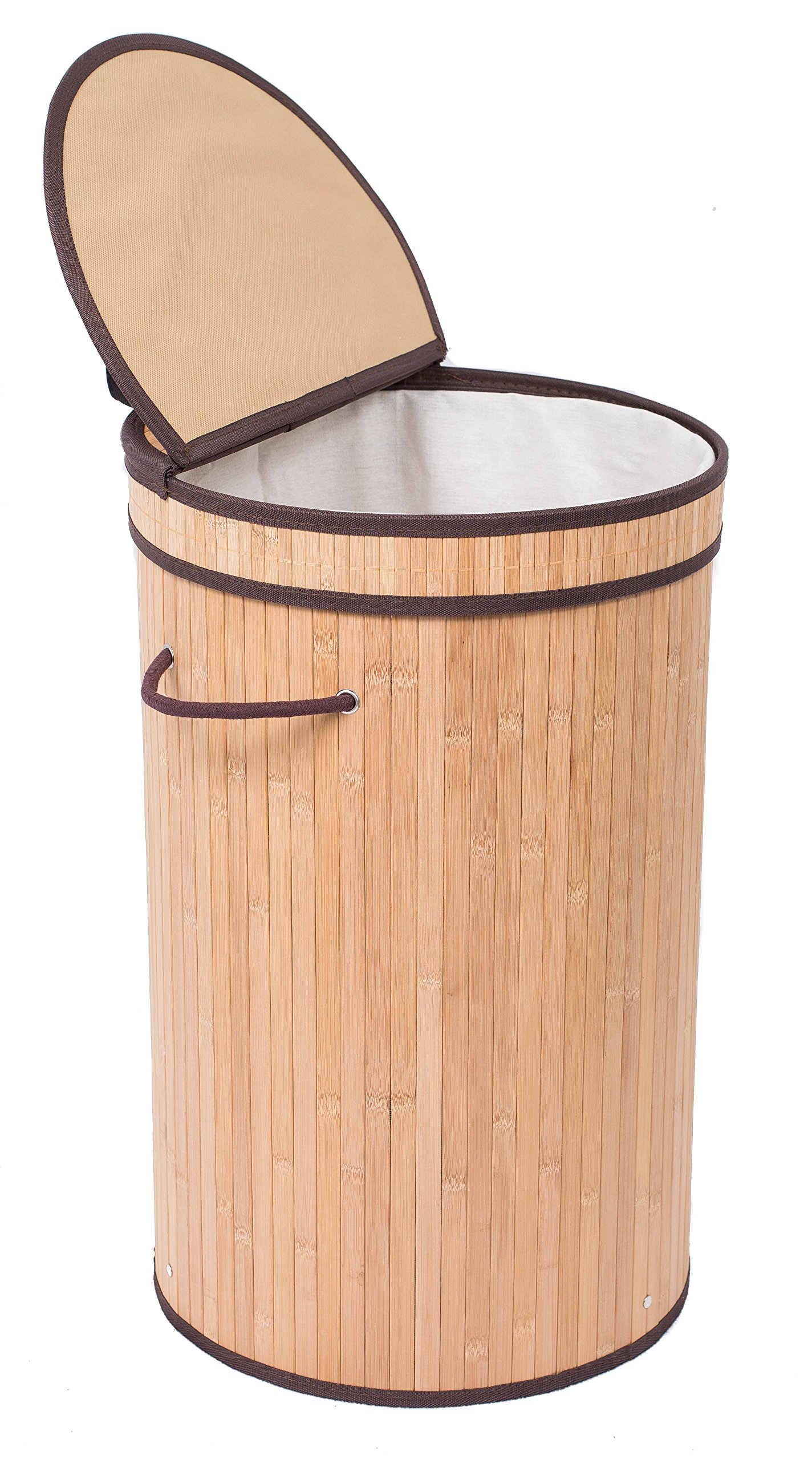 BirdRock Home Round Laundry Hamper with Lid and Cloth Liner | Bamboo | Natural | Easily Transport Laundry | Collapsible Hamper | String Handles