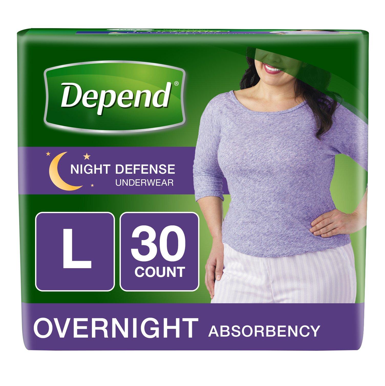 Depend Night Defense Incontinence Overnight Underwear for Women, L