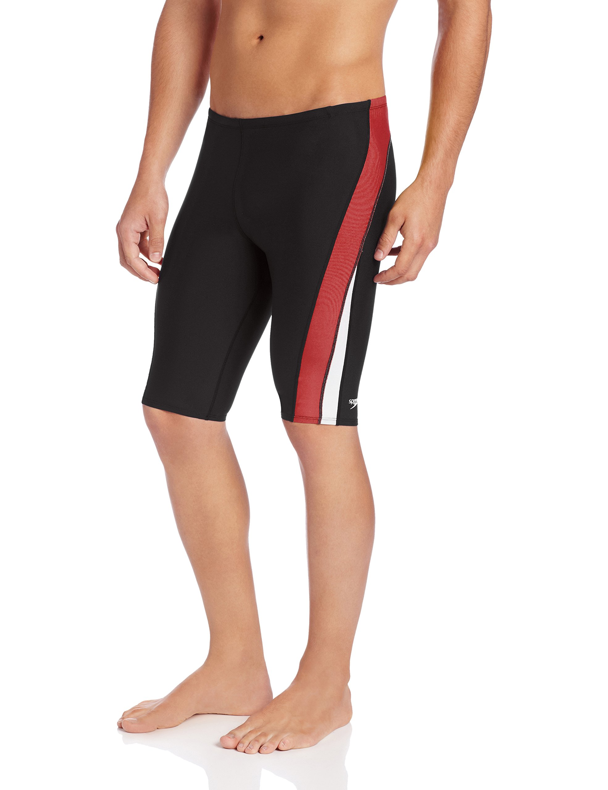 Speedo Men's Endurance+ Launch Splice Jammer Swimsuit, Black/Maroon, 38